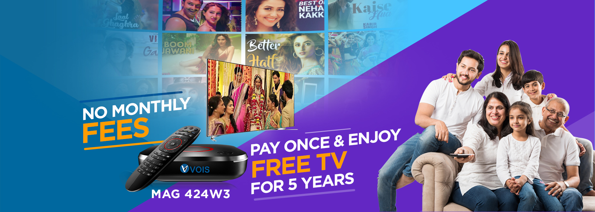 NO Monthly fees,pay once & Enjoy Tv for 5 years